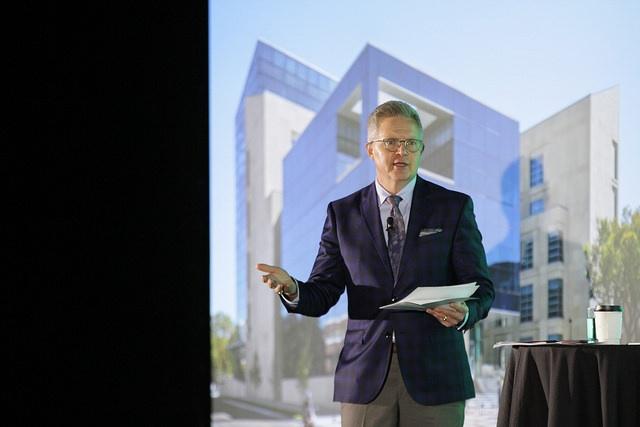 John Roberson, CEO of Advent, talks at Higher Ed Facilities Forum