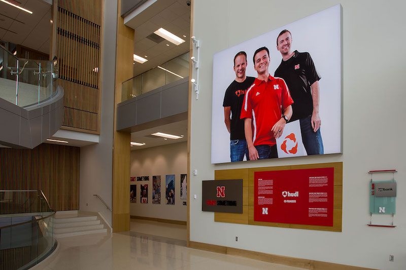 Henrickson Grand Atrium, a 14-foot-tall display features the founders of HUDL.